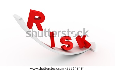 Falling red risk text on white arrow - stock photo