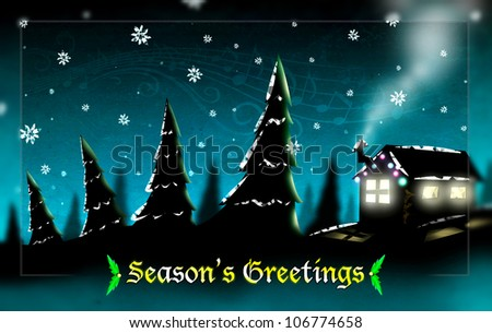 Falling Snow in Forest with Silhouette of Christmas Wood Cottage illustration. Season's Greetings text. - stock photo