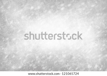 Falling Snowflakes and Lights on Gray Background - stock photo