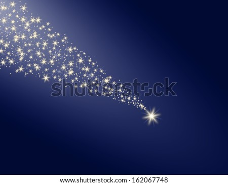 Falling star on a blue background with a white trail - stock photo