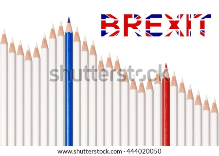 Falling stock market graph, white, red and blue pencils isolated on white background, concept for loss, decline, failure, crisis or brexit - stock photo