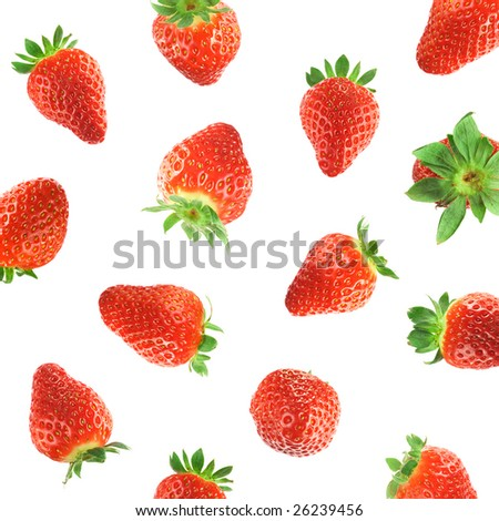 Falling strawberries - stock photo