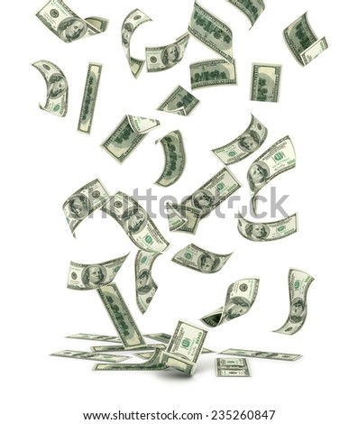Falling US one hundred dollar bills, isolated on white.