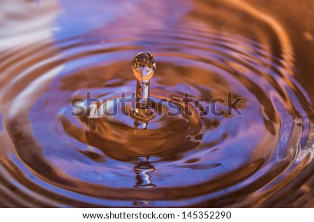 Falling water drop with reflection - stock photo