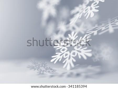 Falling winter Snowflakes. 3D illustration - stock photo