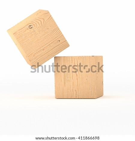 falling wooden cube  - 3D illustration - stock photo