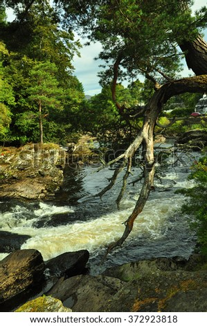 Falls of Dochart, Scotland  - stock photo