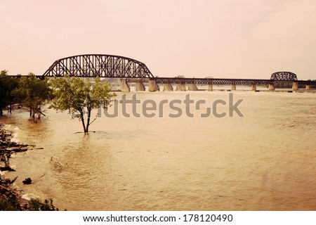 Falls of the Ohio State Park - Ohio River between Kentucky and Indiana - stock photo