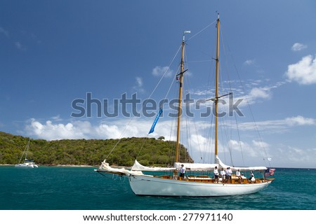 Falmouth, Antigua. 19th April 2015: Classic yacht in Freeman's Bay, participating in the Antigua Classic Yacht Regatta 2015 - stock photo