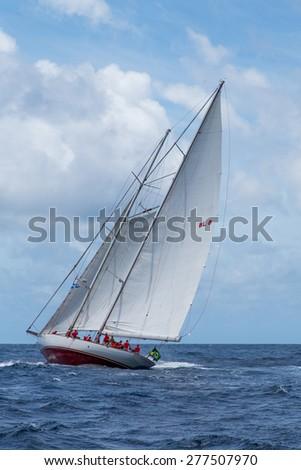 Falmouth, Antigua. 17th May  2015: Atrevida, practicing for the Antigua Classic Yacht Regatta 2015 - stock photo
