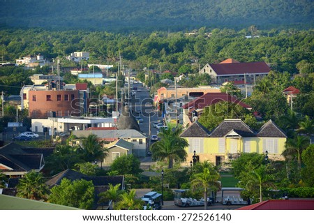 Falmouth downtown buildings, Jamaica. Falmouth is an historic town in Jamaica has a number of historic buildings with Jamaican Georgian architectural style - stock photo