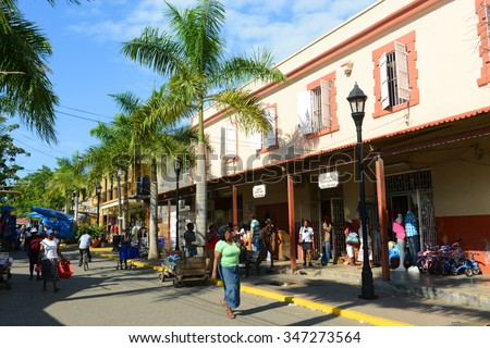 FALMOUTH, JAMAICA - DEC 29: Falmouth Harbour Lane is located at historic downtown on Dec. 29, 2014 in Falmouth, Jamaica. - stock photo