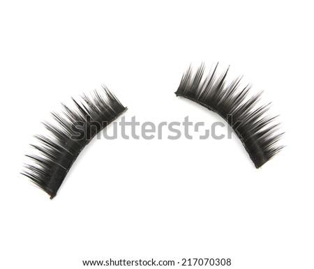 false eyelashes isolated on white - stock photo