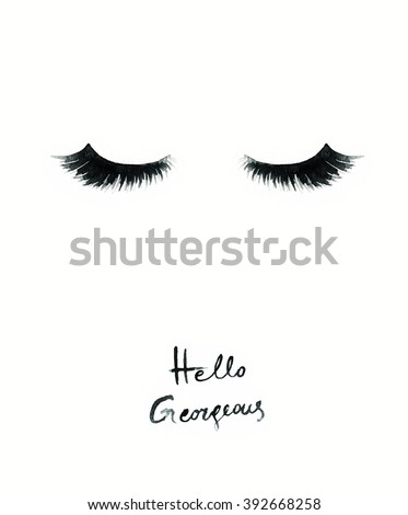 false eyelashes. watercolor fashion illustration - stock photo