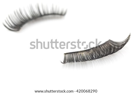 False use eyelashes isolated on white backgrund