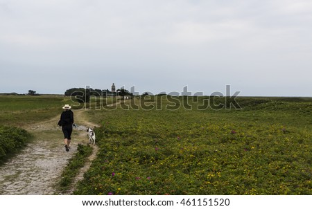 FALSTERBO, SWEDEN - JULY 27, 2016: A lady is taking a seaside tour with the dog, close to golf course and with the lighthouse of Falsterbo in the background.