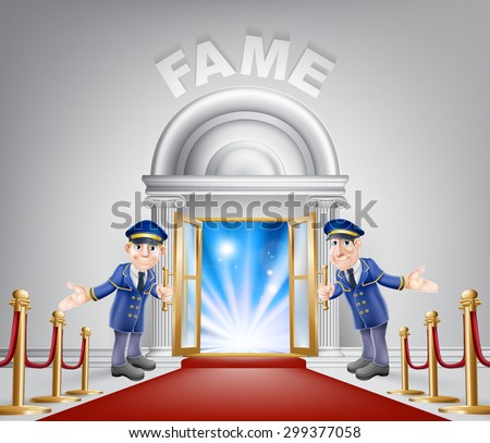 Fame door concept of a doormen holding open a door at a red carpet entrance with velvet ropes. - stock photo
