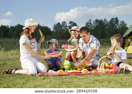 families picnic outdoors with food - stock photo