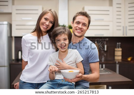 Families with a son in the kitchen