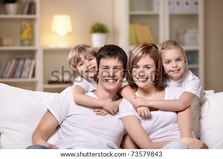 Families with children in the evening