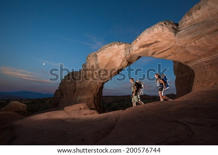 Family Adventure Hike (Arches National Park) - stock photo