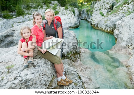 Family adventure - mountain trip - stock photo