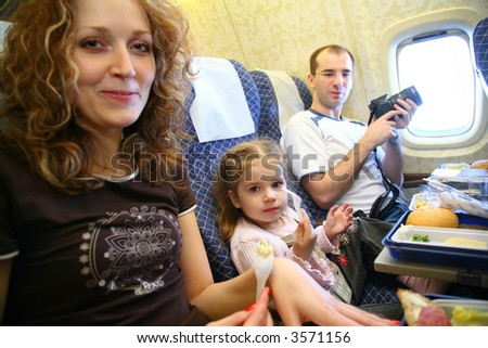 family airplane salon - stock photo
