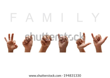 Family american sign language - stock photo