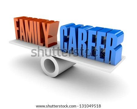 Family and Career balance. Concept 3D illustration. - stock photo