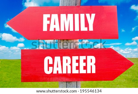 Family and career choice showing strategy change or dilemmas - stock photo