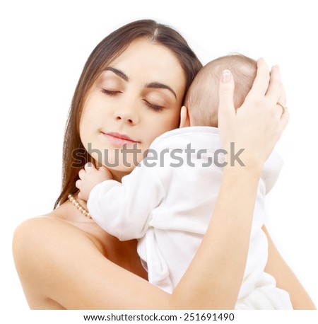 family and happy people concept - baby and mother - stock photo