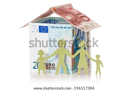 Family and their Euro house made from banknotes on white background  - stock photo