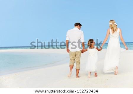 Family At Beautiful Beach Wedding - stock photo