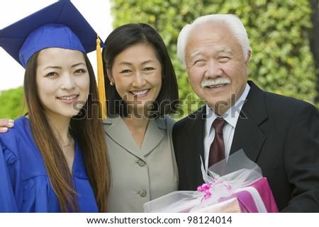 Family at Graduation - stock photo