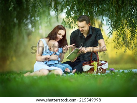 family at the picnic in the park - stock photo