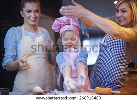 Family baking is key for close relationship - stock photo