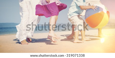 Family Beach Ball Holiday Vacation Togetherness Concept - stock photo