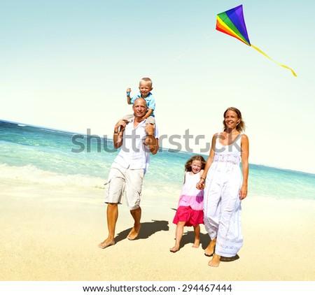 Family Beach Enjoyment Holiday Summer Concept - stock photo