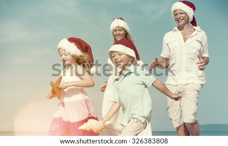 Family Beach Holiday Vacation Togetherness Christmas Concept - stock photo