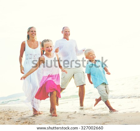 Family Beach Holiday Vacation Togetherness Concept - stock photo