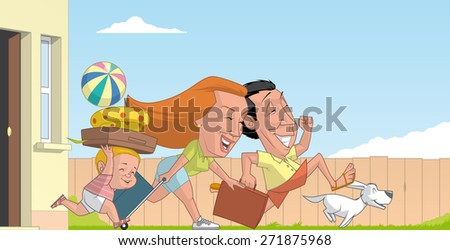 Family beginning the summer vacations - stock photo