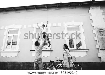 family bike tours Double - stock photo