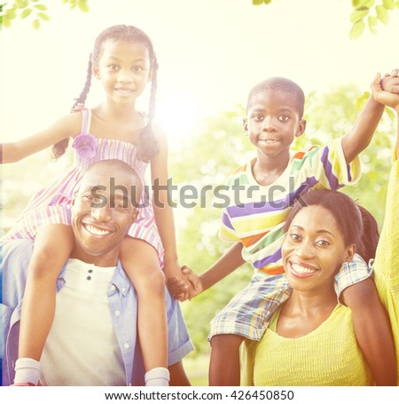 Family Bonding Happiness Togetherness Park Concept - stock photo
