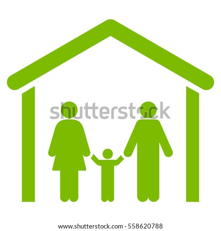 Family Cabin glyph icon. Flat eco green symbol. Pictogram is isolated on a white background. Designed for web and software interfaces.