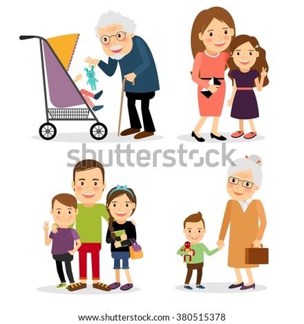 Family cartoon people - stock photo