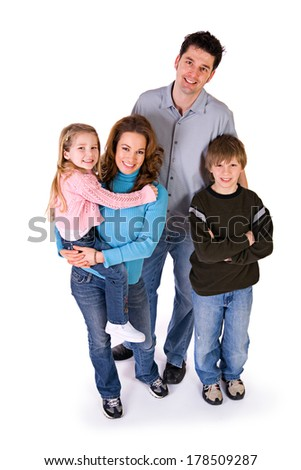 Family: Cheerful Caucasian Family on White