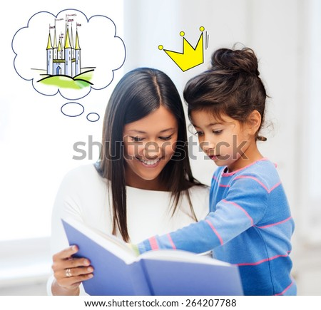 family, childhood, leisure and people concept - happy mother and daughter with book reading fairytale at home - stock photo