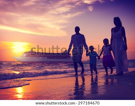 Family Children Beach Cruise Ship Relaxation Concept - stock photo