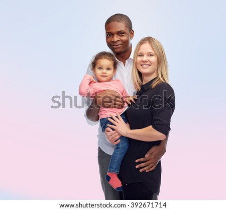 family, children, race and nationality concept - happy multiracial mother, father and little child over rose quartz and serenity gradient background - stock photo