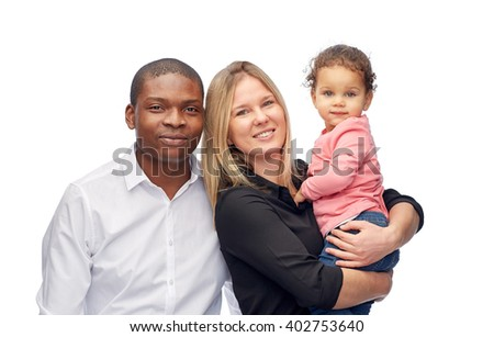 family, children, race and nationality concept - happy multiracial mother, father and little child - stock photo